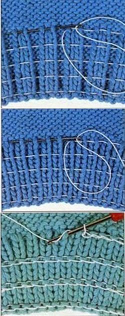How to enter a rubber thread into a knitted elastic band
