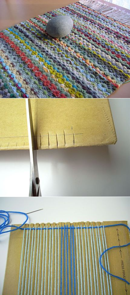 How to make the weaving loom of a fork and a piece of cardboard